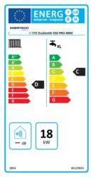 Energimärkningsetikett för CTC's tank ECOZENITH i550 PRO 3x400SV